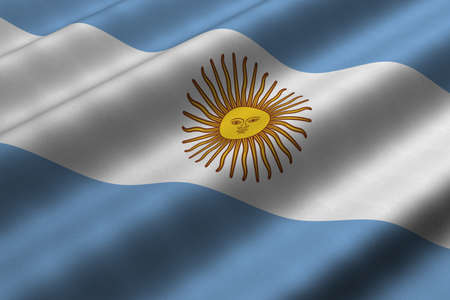 Detailed 3d rendering closeup of the flag of Argentina.  Flag has a detailed realistic fabric texture.