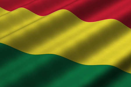 Detailed 3d rendering closeup of the flag of Bolivia.  Flag has a detailed realistic fabric texture. photo