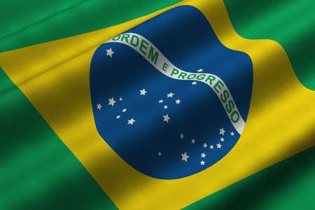 브라질의 국기의 3d 렌더링 근접 촬영을 자세히 설명합니다. 플래그는 자세한 현실적인 패브릭 질감을하고 있습니다. 스톡 콘텐츠