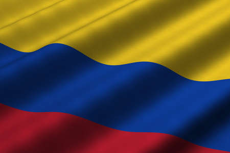 Detailed 3d rendering closeup of the flag of Colombia.  Flag has a detailed realistic fabric texture.
