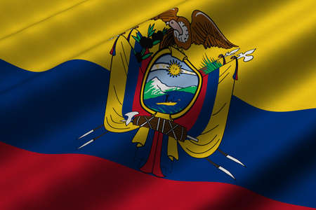 Detailed 3d rendering closeup of the flag of Ecuador.  Flag has a detailed realistic fabric texture. photo