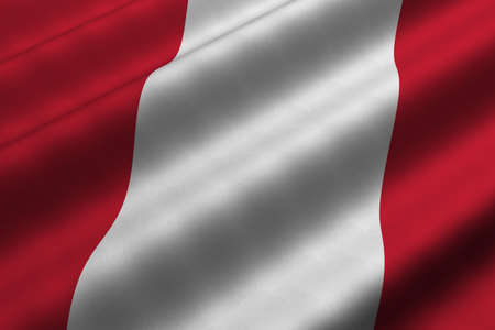 Detailed 3d rendering closeup of the flag of Peru.  Flag has a detailed realistic fabric texture.