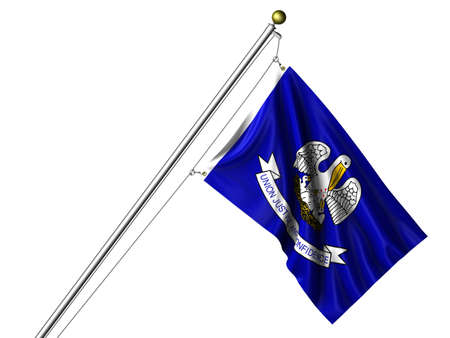 Detailed 3d rendering of the flag of the US State of Louisiana hanging on a flag pole isolated on a white background. Flag has a fabric texture and a path is included. photo