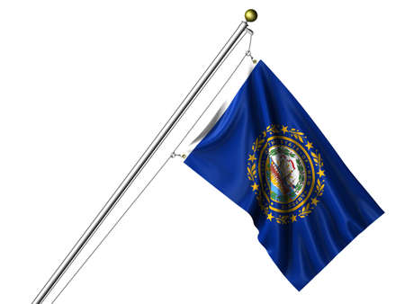 Detailed 3d rendering of the flag of the US State of New Hampshire hanging on a flag pole isolated on a white background.   photo