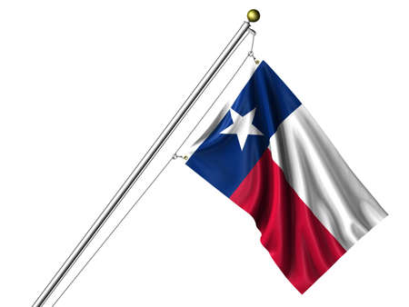 Detailed 3d rendering of the flag of the US State of Texas hanging on a flag pole isolated on a white background.  Stock Photo