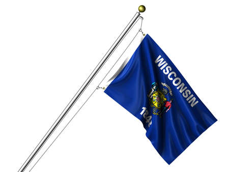 state of wisconsin: Detailed 3d rendering of the flag of the US State of Wisconsin hanging on a flag pole isolated on a white background.