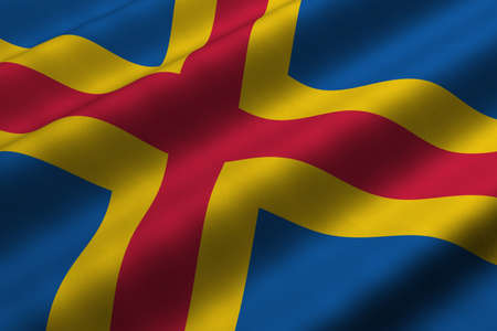 Detailed 3d rendering closeup of the flag of Aaland.  Flag has a detailed realistic fabric texture.