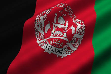 Detailed 3d rendering closeup of the flag of Afghanistan.  Flag has a detailed realistic fabric texture.
