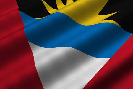 Detailed 3d rendering closeup of the flag of Antigua and Barbuda.  Flag has a detailed realistic fabric texture.