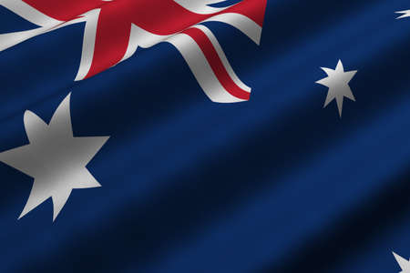 oceania: Detailed 3d rendering closeup of the flag of Australia.  Flag has a detailed realistic fabric texture.