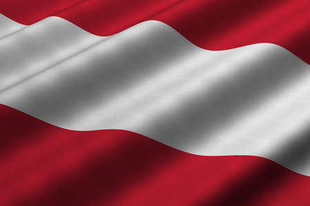 Detailed 3d rendering closeup of the flag of Austria.  Flag has a detailed realistic fabric texture.