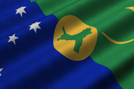 Detailed 3d rendering closeup of the flag of the Territory of Christmas Island.  Flag has a detailed realistic fabric texture. Stok Fotoğraf