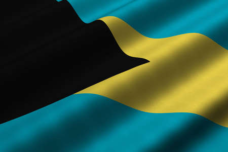 Detailed 3d rendering closeup of the flag of the Bahamas.  Flag has a detailed realistic fabric texture.