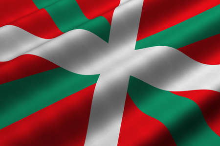 basque country: Detailed 3d rendering closeup of the flag of the Basque Country (Pais Vasco or Pays Basque).  Flag has a detailed realistic fabric texture. Stock Photo
