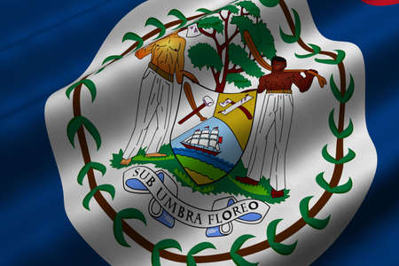 Detailed 3d rendering closeup of the flag of Belize.  Flag has a detailed realistic fabric texture. Stok Fotoğraf