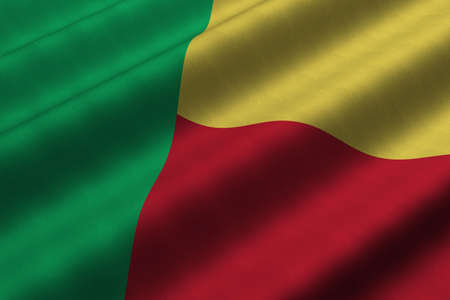 Detailed 3d rendering closeup of the flag of Benin.  Flag has a detailed realistic fabric texture.