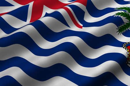 영국령 인도양 지역의 국기의 3d 렌더링 근접 촬영을 자세히 설명합니다. 플래그는 자세한 현실적인 패브릭 질감을하고 있습니다.