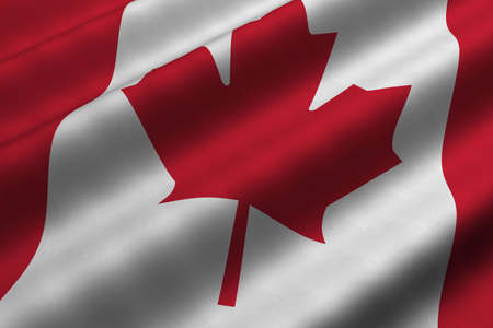 rendering: Detailed 3d rendering closeup of the flag of Canada.  Flag has a detailed realistic fabric texture. Stock Photo