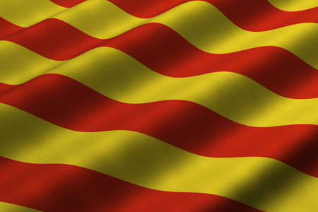 Detailed 3d rendering closeup of the flag of Catalunya (Catalonia).  Flag has a detailed realistic fabric texture.