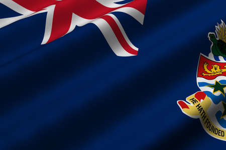 Detailed 3d rendering closeup of the flag of the Cayman Islands.  Flag has a detailed realistic fabric texture.
