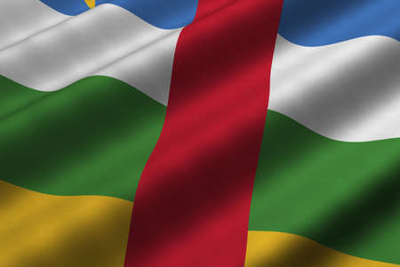 Detailed 3d rendering closeup of the flag of the Central African Republic.  Flag has a detailed realistic fabric texture. Stock Photo - 4816560