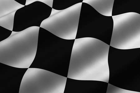 Detailed 3d rendering closeup of a chequered flag.  Flag has a detailed realistic fabric texture.