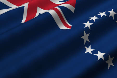 Detailed 3d rendering closeup of the flag of the Cook Islands.  Flag has a detailed realistic fabric texture. Stok Fotoğraf
