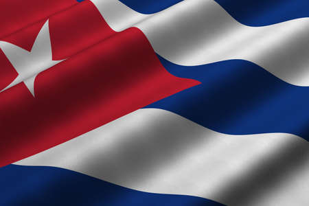 Detailed 3d rendering closeup of the flag of Cuba.  Flag has a detailed realistic fabric texture.
