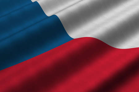 Detailed 3d rendering closeup of the flag of the Czech Republic.  Flag has a detailed realistic fabric texture.