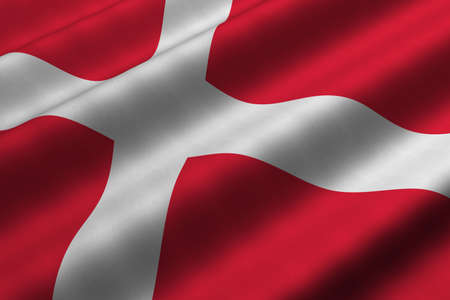 Detailed 3d rendering closeup of the flag of Denmark.  Flag has a detailed realistic fabric texture. Stock Photo - 4865010