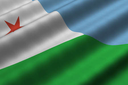 Detailed 3d rendering closeup of the flag of Djibouti.  Flag has a detailed realistic fabric texture.