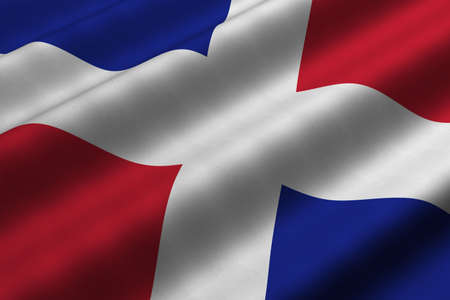 Detailed 3d rendering closeup of the flag of the Dominican Republic.  Flag has a detailed realistic fabric texture.