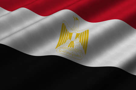 Detailed 3d rendering closeup of the flag of Egypt.  Flag has a detailed realistic fabric texture.