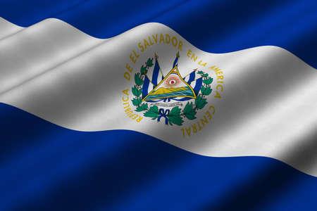 el salvador flag: Detailed 3d rendering closeup of the flag of El Salvador.  Flag has a detailed realistic fabric texture. Stock Photo