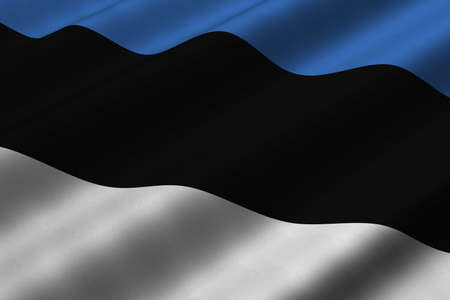 Detailed 3d rendering closeup of the flag of Estonia.  Flag has a detailed realistic fabric texture. Stok Fotoğraf