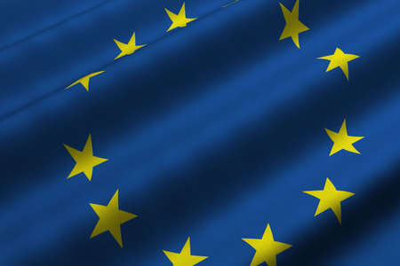 Detailed 3d rendering closeup of the flag of the European Union.  Flag has a detailed realistic fabric texture. photo