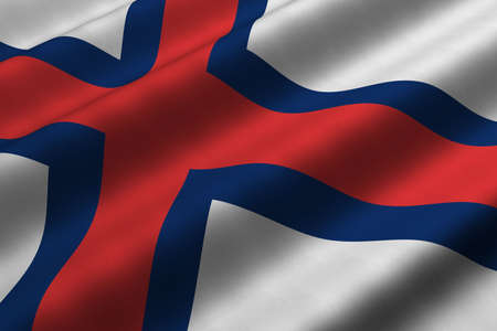 Detailed 3d rendering closeup of the flag of the Faroe Islands.  Flag has a detailed realistic fabric texture.