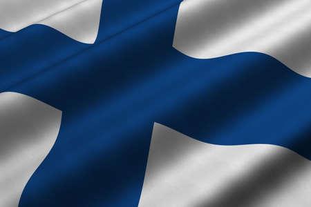 bandera de finlandia: Las 3D de cerca de la bandera de Finlandia. Bandera tiene un detalle realista textura de tela.