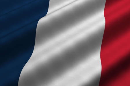 rendering: Detailed 3d rendering closeup of the flag of France.  Flag has a detailed realistic fabric texture. Stock Photo