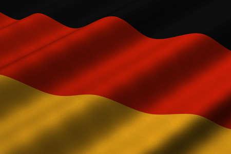 ドイツの旗の 3d レンダリングのクローズ アップの詳細。フラグは詳細な現実的な生地のテクスチャを持ちます。 写真素材