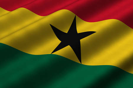 Detailed 3d rendering closeup of the flag of Ghana.  Flag has a detailed realistic fabric texture. Stok Fotoğraf