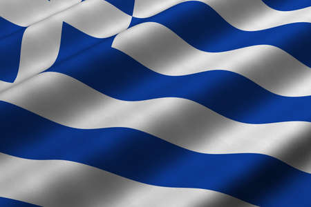 rendering: Detailed 3d rendering closeup of the flag of Greece.  Flag has a detailed realistic fabric texture.