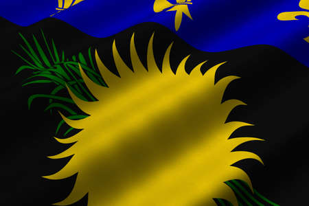 Detailed 3d rendering closeup of the flag of Guadeloupe.  Flag has a detailed realistic fabric texture. Stock Photo - 4959413