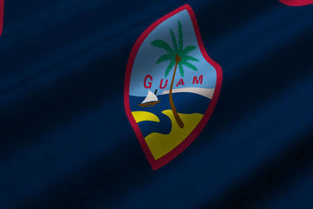 guam: Detailed 3d rendering closeup of the flag of Guam.  Flag has a detailed realistic fabric texture. Stock Photo