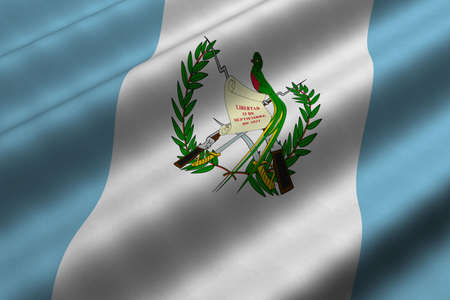Detailed 3d rendering closeup of the flag of Guatemala.  Flag has a detailed realistic fabric texture. Stock Photo