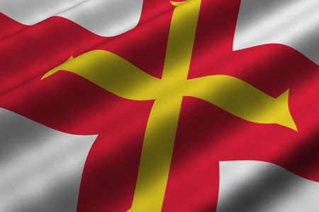 guernsey: Detailed 3d rendering closeup of the flag of the Bailiwick of Guernsey.  Flag has a detailed realistic fabric texture.