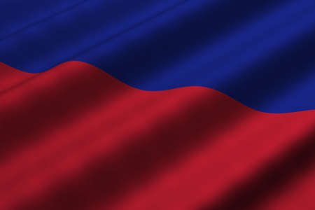 Detailed 3d rendering closeup of the flag of Haiti.  Flag has a detailed realistic fabric texture.