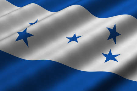 Detailed 3d rendering closeup of the flag of Honduras.  Flag has a detailed realistic fabric texture. photo
