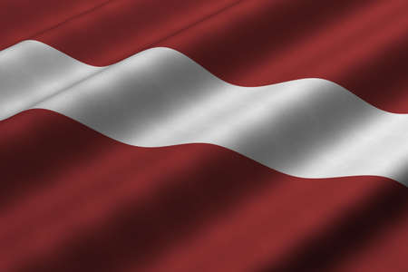 Detailed 3d rendering closeup of the flag of Latvia.  Flag has a detailed realistic fabric texture. Stock fotó