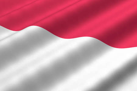 Detailed 3d rendering closeup of the flag of Indonesia.  Flag has a detailed realistic fabric texture.